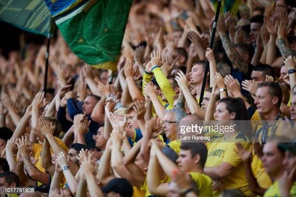 The fans of Brondby IF cheer during the UEFA Europa League Qual. Match between Brondby IF and Spartak Subotica at Brondby Stadion on August 16, 2018...