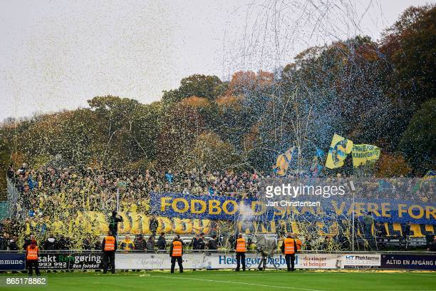 The fans of Brondby IF prior to the Danish Alka Superliga match between FC Helsingor and Brondby IF at Helsingor Stadion on October 22 2017 in...