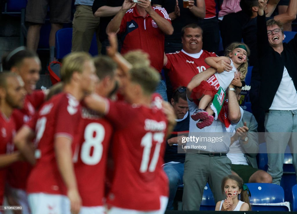 The fans of Denmark celebrate after the 1-0 goal scored by Yussuf Yurary Poulsen of Denmark during the international friendly match between Denmark and Mexico at Brondby Stadion on June 9, 2018 in Brondby, Denmark.