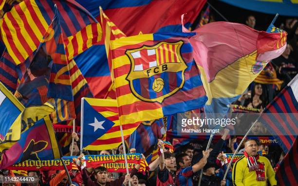 The fans of FC Barcelona celebrate their team during the UEFA Champions League Quarter Final second leg match between FC Barcelona and Manchester...