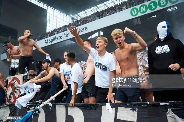 The fans of FC Copenhagen cheer after the Danish Superliga match between FC Copenhagen and Brondby IF at Telia Parken Stadium on August 12 2018 in...