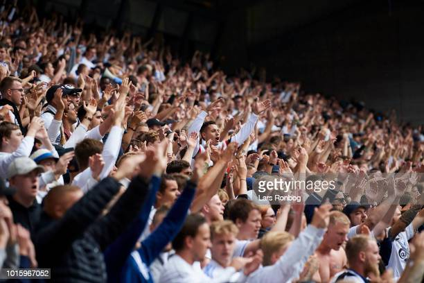The fans of FC Copenhagen cheer prior to the Danish Superliga match between FC Copenhagen and Brondby IF at Telia Parken Stadium on August 12 2018 in...