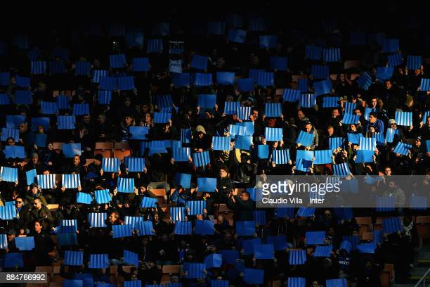 The fans of FC Internazionale perform a choreography prior to the Serie A match between FC Internazionale and AC Chievo Verona at Stadio Giuseppe...