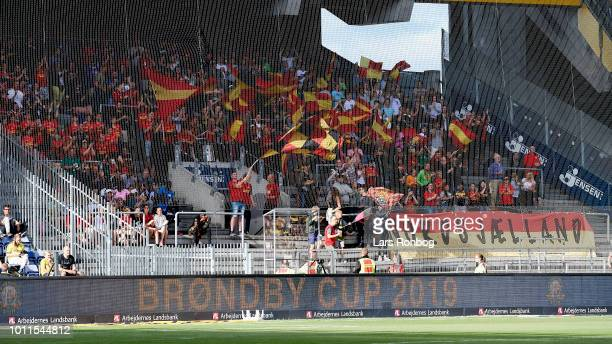 The fans of FC Nordsjalland cheer prior the Danish Superliga match between Brondby IF and FC Nordsjalland at Brondby Stadion on August 5 2018 in...
