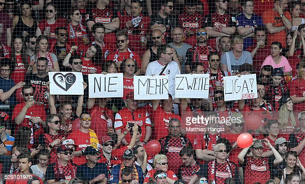The fans of Freiburg celebrate the ascension to the First Bundesliga prior to the second Bundesliga match between SC Freiburg and 1 FC Heidenheim at...