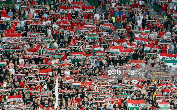 The fans of Hungary sing the anthem prior to the International Friendly match between Hungary and Russia at Groupama Arena on June 5, 2017 in...