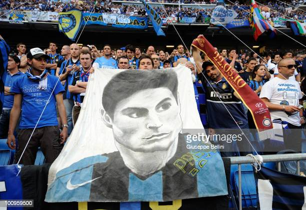 The fans of Inter Milan during the UEFA Champions League Final match between FC Bayern Muenchen and Inter Milan at Bernabeu on May 22 2010 in Madrid...