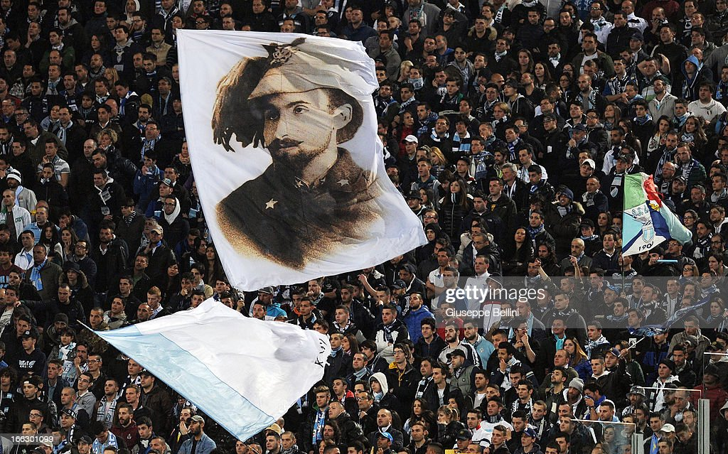 The fans of Lazio during the Serie A match between AS Roma and S.S. Lazio at Stadio Olimpico on April 8, 2013 in Rome, Italy.