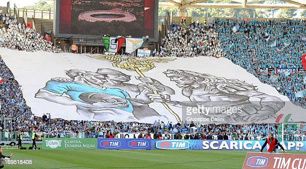 The fans of Lazio during the TIM cup final match between AS Roma v SS Lazio at Stadio Olimpico on May 26, 2013 in Rome, Italy.