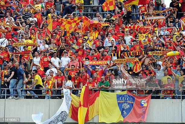 The fans of Lecce during the Serie A match between AS Bari and Lecce at Stadio San Nicola on May 15 2011 in Bari Italy