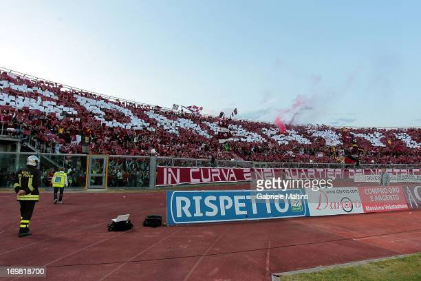The fans of Livorno cheer during the Serie B playoff final match between AS Livorno and Empoli FC at Stadio Armando Picchi on June 2 2013 in Livorno...
