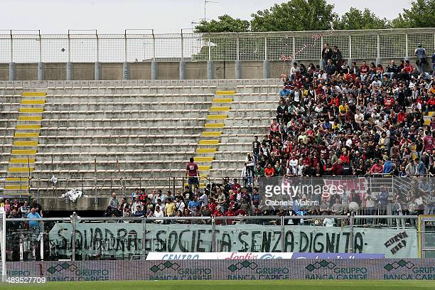 The fans of Livorno during the Serie A match between AS Livorno Calcio and ACF Fiorentina at Stadio Armando Picchi on May 11 2014 in Livorno Italy