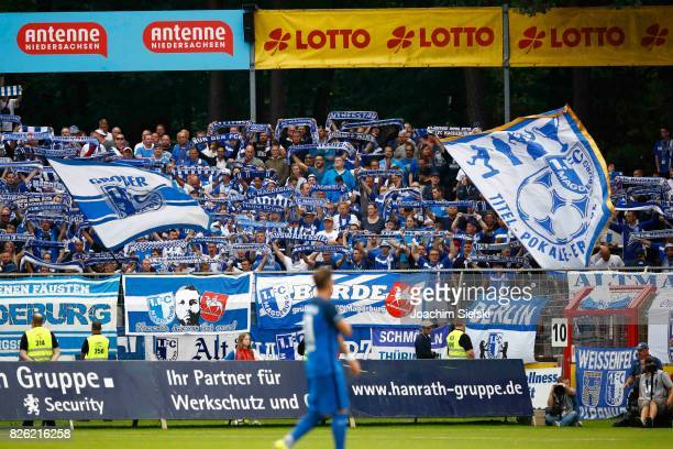 The Fans of Magdeburg during the 3 Liga match between SV Meppen and 1 FC Magdeburg at Haensch Arena on August 2 2017 in Meppen Germany