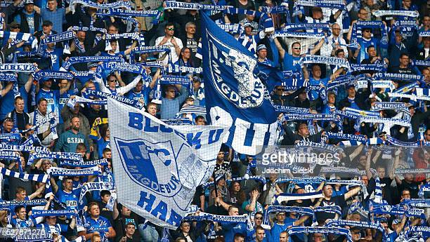 The Fans of Magdeburg during the Third League match between 1 FC Magdeburg and SG SonnenhofGrosssaspach at MDCCArena on April 30 2016 in Magdeburg...