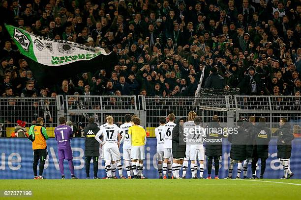 The fans of Moenchengladbach shows their angryness tzo the team the Bundesliga match between Borussia Dortmund and Borussia Moenchengladbach at...