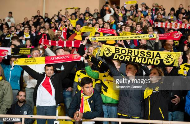 The fans of of Borussia Dortmund in action prior to the UEFA Champions League Quarter Final Second Leg match between AS Monaco and Borussia Dortmund...