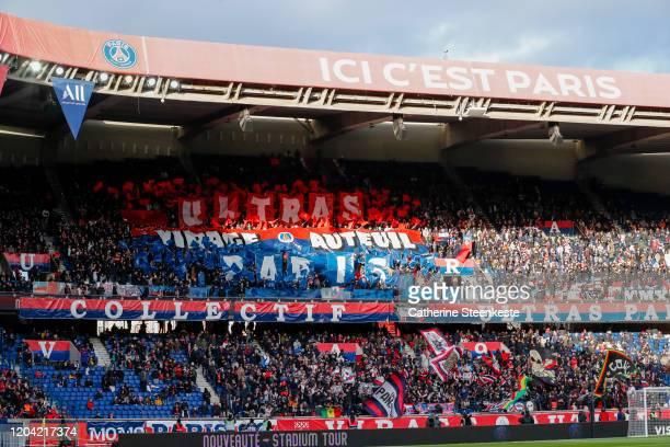 The fans of Paris Saint-Germain enjoy the atmosphere during the Ligue 1 match between Paris Saint-Germain and Dijon FCO at Parc des Princes on...