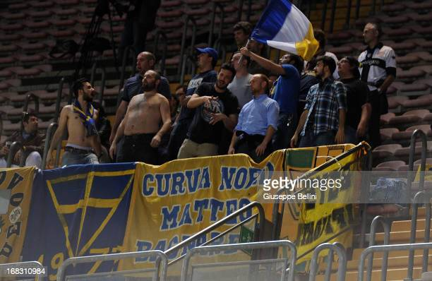 The fans of Parma during the Serie A match between Cagliari Calcio and Parma FC at Stadio Sant'Elia on May 8 2013 in Cagliari Italy