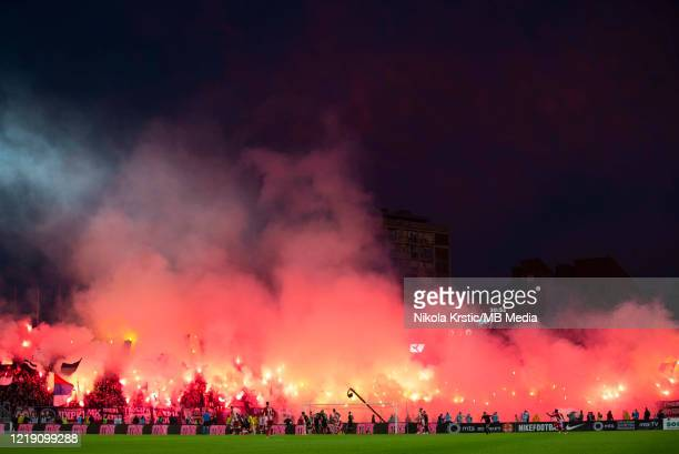 The fans of Partizan Belgrade support their team during the Semifinal Serbian Cup match between Red Star Belgrade and Partizan Belgrade at Partizan...