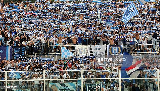 The fans of Pescara during the Serie A match between Pescara and SS Lazio at Adriatico Stadium on October 7 2012 in Pescara Italy