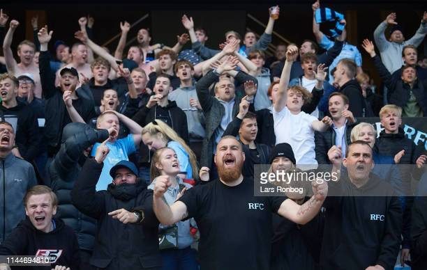 The fans of Randers FC celebrate and cheer after the Danish Superliga match between Randers FC and AGF Aarhus at Cepheus Park on May 18 2019 in...