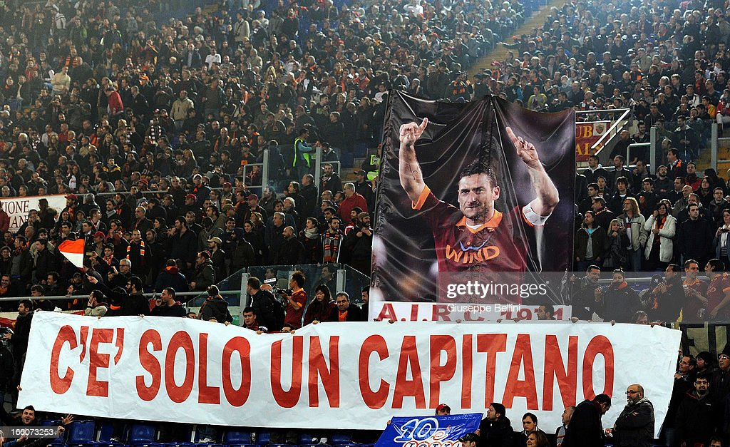 The fans of Roma during the Serie A match between AS Roma and S.S. Lazio at Stadio Olimpico on April 8, 2013 in Rome, Italy.