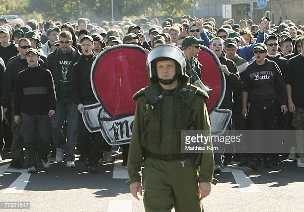 The fans of Sachsen Leipzig go to the stadium during the Landesliga match between FC Sachsen II and 1.FC Lok Leipzig at the Zentralstadion on October...