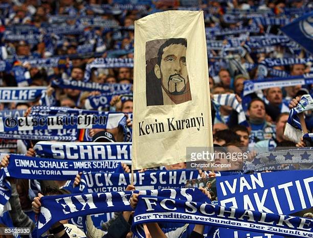 The fans of Schalke show a banner to support Kevin Kuranyi during the Bundesliga match between FC Schalke 04 and Arminia Bielefeld at the Veltins...