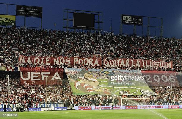 The fans of Sevilla wave a giant banner before the UEFA Cup semi final second leg match between FC Sevilla and Schalke 04 at the Ramon SanchezPizjuan...