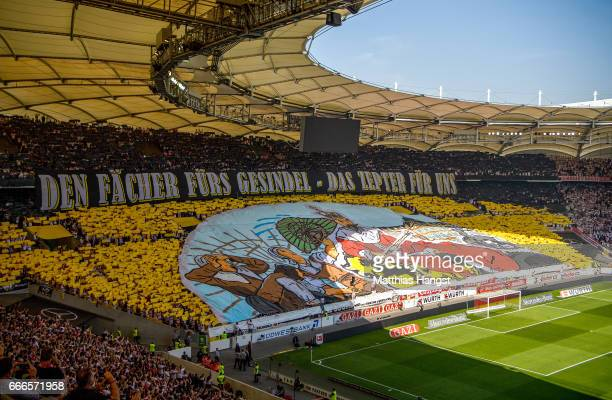 The fans of Stuttgart perform a choreography prior to the Second Bundesliga match between VfB Stuttgart and Karlsruher SC at MercedesBenz Arena on...