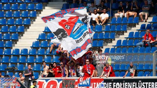 The Fans of Unterhaching during the 3 Liga match between SC Paderborn 07 and SpVgg Unterhaching at Benteler Arena on April 21 2018 in Paderborn...
