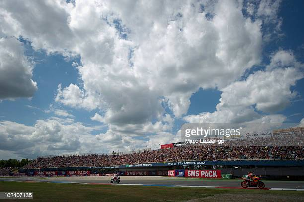 The fans on the grandstands look on during the qualifying practice of Grand Prix of Netherlands in TT Assen Circuit on June 25 2010 in Assen...