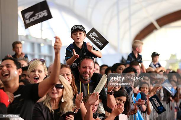The Fans welcome the team during the Zealand Blackcaps Welcome Home Reception at Queen's Wharf on March 31 2015 in Auckland New Zealand New Zealand...