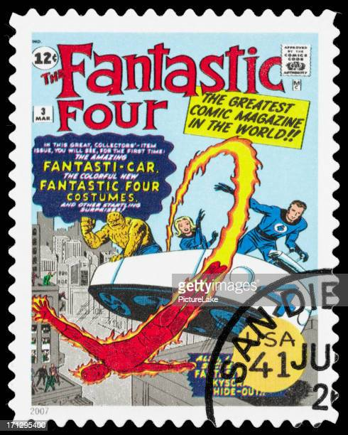 usa the fantastic four comic book cover postage stamp - fantastic four stock pictures, royalty-free photos & images