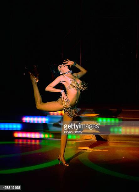 The FANTASY Show cast member Yesi performs during the FANTASY show's 'Fulfilling Fantasies for 15 Years' 2015 calendar launch at the Luxor Hotel...