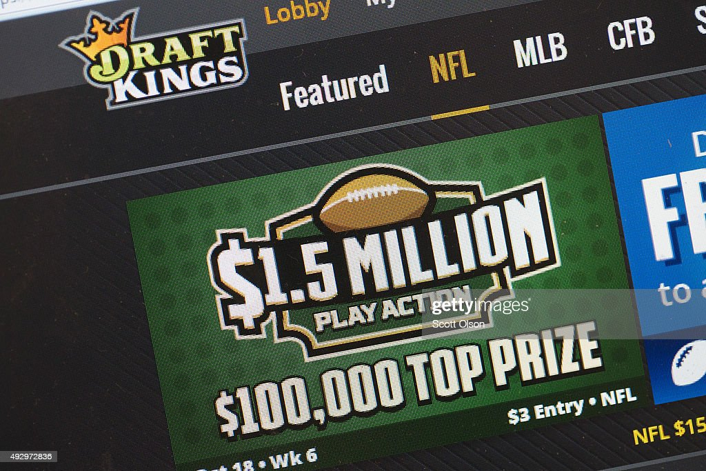 The fantasy sports website DraftKings is shown on October 16, 2015 in Chicago, Illinois. DraftKings and its rival FanDuel have been under scrutiny after accusations surfaced of employees participating in the contests with insider information. An employee recently finished second in a contest on FanDuel, winning $350,000. Nevada recently banned the sites.