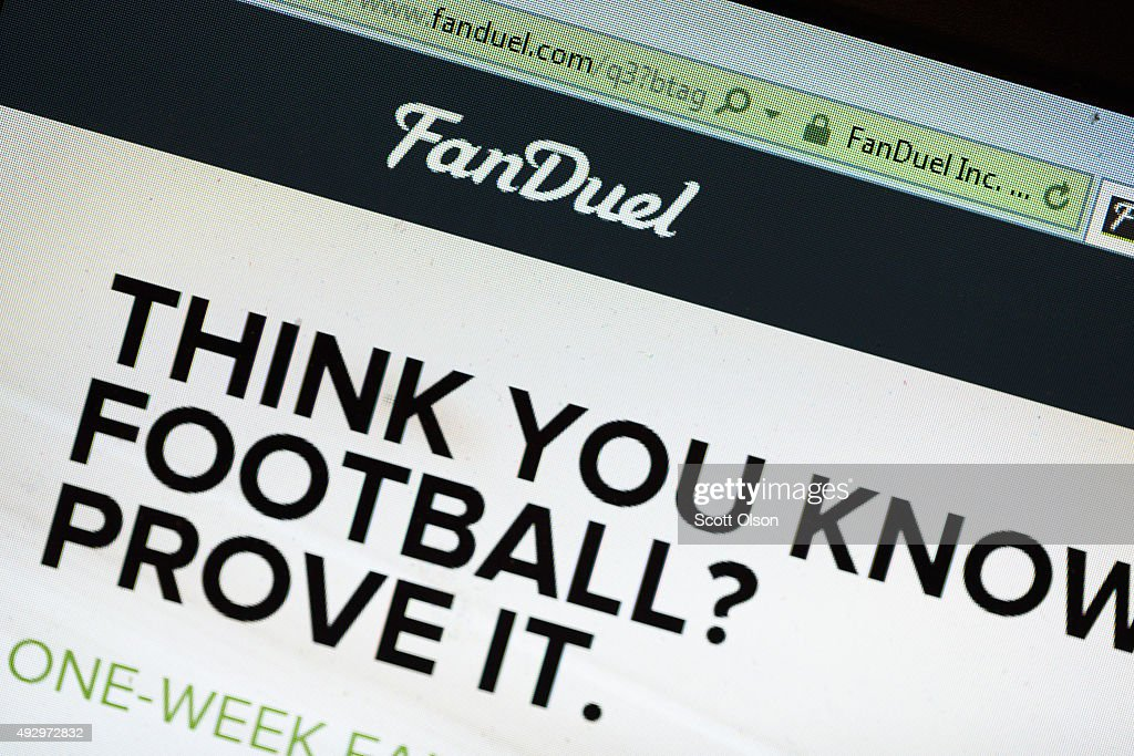 The fantasy sports website FanDuel is shown on October 16, 2015 in Chicago, Illinois. FanDuel and its rival DraftKings have been under scrutiny after accusations surfaced of employees participating in the contests with insider information. An employee recently finished second in a contest on FanDuel, winning $350,000. Nevada recently banned the sites.