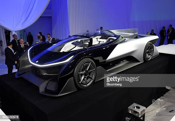 The Faraday Future Inc FFZero1 concept vehicle is unveiled during the 2016 Consumer Electronics Show in Las Vegas Nevada US on Monday Jan 4 2016...