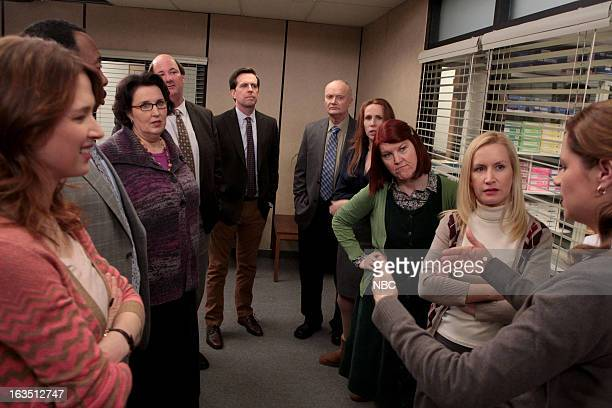 """The Farm"""" Episode 905 -- Pictured: Ellie Kemper as Erin Hannon, Leslie David Baker as Stanley Hudson, Phyllis Smith as Phyllis Vance, Brian..."""