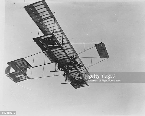 The Farman III sport and exhibition biplane flying overhead ca 1910