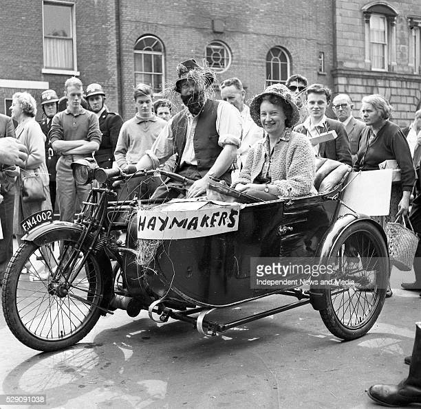The farmer and his wife Bob Thompson from Blackrock and Dorrie Agar from Dalkey on their 1914 Sunbeam 499cc who took part in the Veteran Motor Cycle...