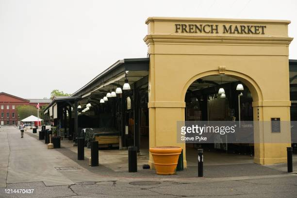 The Farmer's Market at the French Market in the French Quarter of New Orleans is closed amid restrictions in place to help deal with the Covid19...