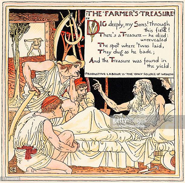 The Farmers Treasure From the book Babys Own Aesop by Walter Crane published c1920