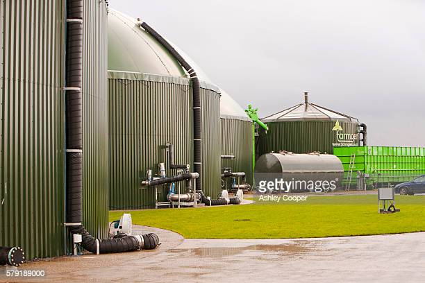The Farmgen anaerobic bio digestor at Dryholme Farm near Silloth Cumbria, UK. The plant which cost £4.5 million, produces 1.2 Mw of electricity, enough to power 2000 households. It uses around 25,000 tons of feedstock annualy, mainly maize and grass, whic