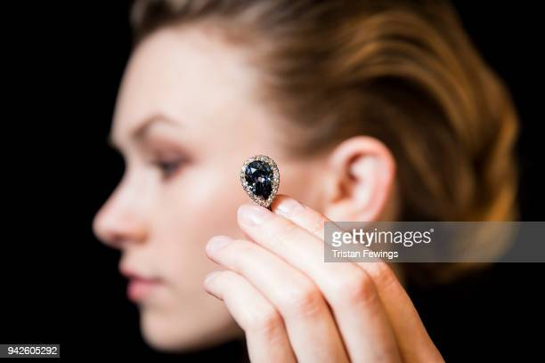The Farnese Blue one of the most important historic diamonds left in private hands goes on view at Sotheby's on April 6 2018 in London England The...