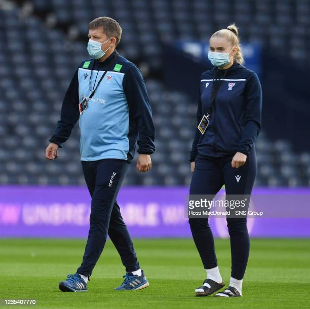 The Faroe Island players ahead of kick off during a FIFA World Cup Qualifier between Scotland and Faroe Islands at Hampden Park on September 21 in...