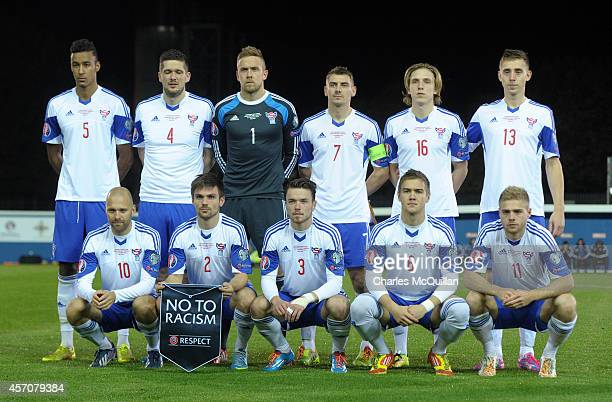 The Faroe Islands team before the Euro 2016 Qualifier between Northern Ireland and Faroe Islands at Windsor Park on October 11 2014 in Belfast...