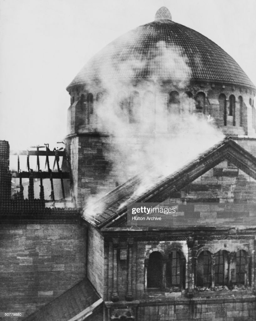 The Fasanenstrasse Synagogue in Berlin after it was set on fire by a Nazi mob during the 'Kristallnacht' riots, 9th-11th November 1938.