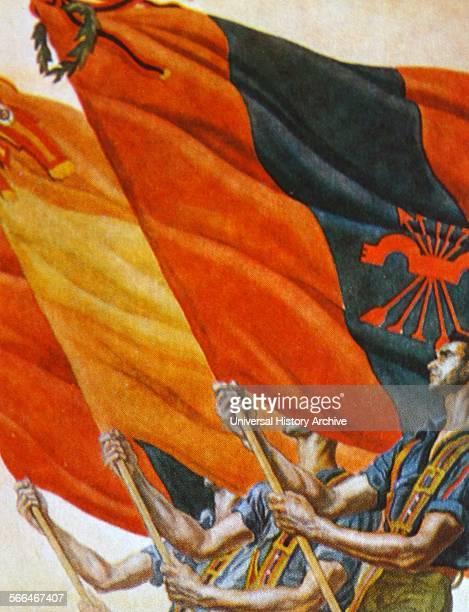 The Fascist flag of the Falange is waved in a Spanish civil war nationalist propaganda illustration