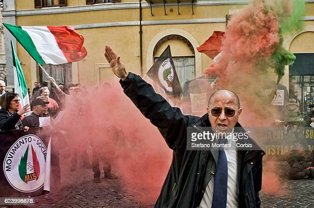 The fascist salute of Raffaele Bruno national secretary of the MIS during the demonstration in front of Parliament of the Social Idea Movement...